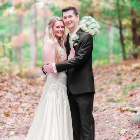 A wedding couple in the woods